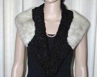 Vintage black persian lamb and gray mink fur  shawl collar /  Collet vintage de fourrure de mouton de perse noir et vison gris