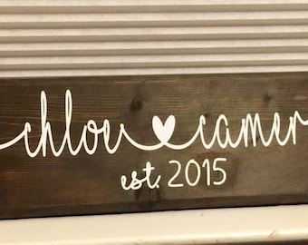 Custom stained wood established sign