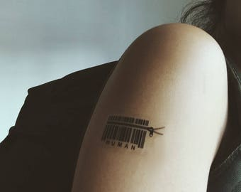 Human Barcode Temporary Tattoo Sticker (Set of 2)