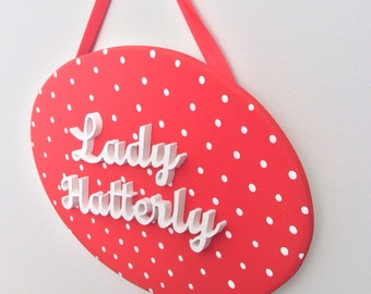 Polka Dot Oval Wooden Plaque - Vintage Style Name Sign - 50s Retro Rockabilly Theme Decor - Funky Door Sign - Teen Girl Birthday Gift