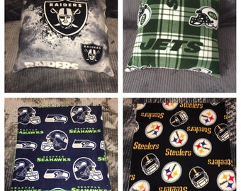 NFL Raiders, Seahawks, Giants, Jets, Steelers, Texans, Football Fleece/Minky Zippered Pillow Covers, Throw Pillow, Cozy, Guy, Gift, Sports