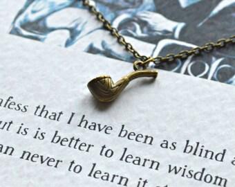 Sherlock Holmes Necklace - Literary Gift - Bronze Pipe