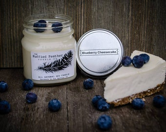 Blueberry Cheesecake Soy Candle, All Natural Soy Candle, 8oz, The Bakery @ The Ruffled Feather Candle Co.