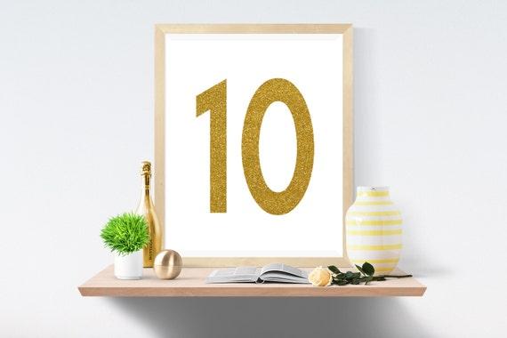 Printable Art, Number 10, Gold, Art Prints, Wall Art, Art Print, Wall Prints, House Number, Table Printable, Instant Download, Modern Art