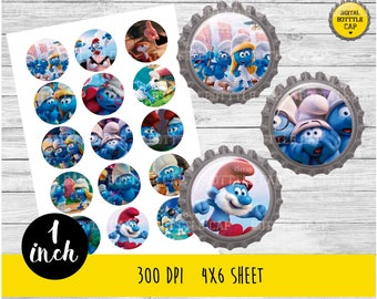 COD146- 50% OFF SALE 15 Smurfsl  Bottlecap-Cars 1 inch Bottlecap-Smurfs bottle cap-Smurfsl 1 inch