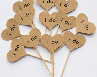 I do cupcake toppers, rustic cupcake toppers, I do cupcake toppers, cupcake toppers, I do cupcake picks, I do picks, kraft picks, set of 12