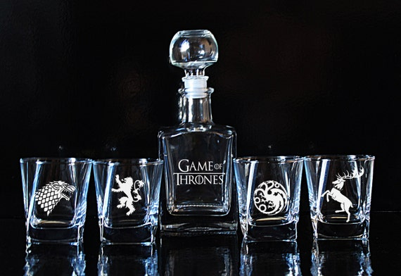 Game Of Thrones Glass Whiskey Decanter Set By EngravedBoutique