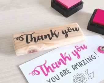 Thank you rubber stamp (hand carved & handmade)
