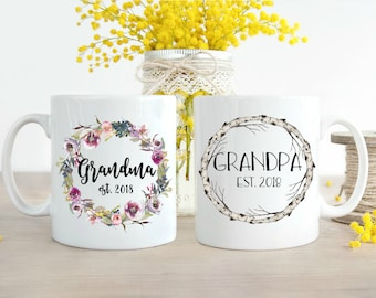 Grandparent Mugs, Pregnancy Reveal to Grandparents, New Grandparents, Pregnancy Announcement Grandparents, Soon to be Grandparents, Mug Set