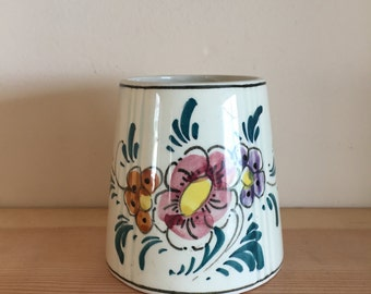 Vintage Delft Made in Holland Conical Small Vase with Floral Multi-Coloured Decoration
