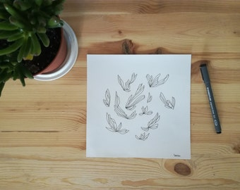 Original illustration, original drawing made with black pencil on Canson paper 160g