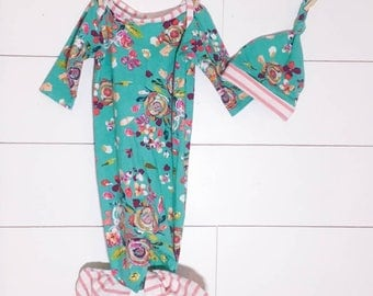 Knotted Newborn Mermaid Gown Turquoise Floral