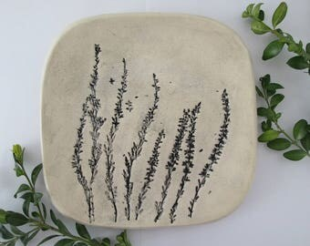 ceramic plate with plants, relief platter, organic plate, appetizer with heathers, handmade ceramic tray, serving plate, decorative plate