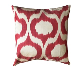 Red Ikat Cushion Cover, 45 x 45 cm, Decorative Pillow