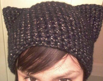 Black Shimmer Kitty Hat