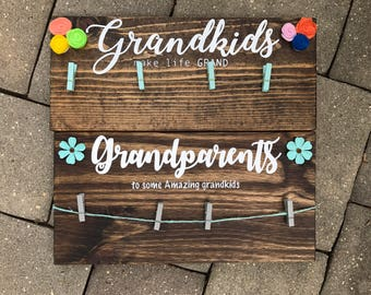 Grandkids/Grandparents sign - picture hanger Ready to ship