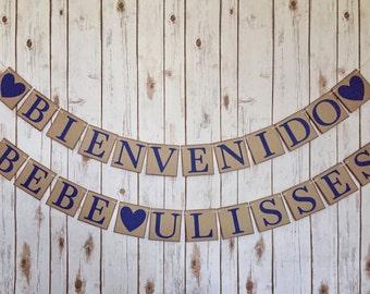 Spanish baby shower decor, bienvenido bebe banner, bienvenida bebe banner, Spanish baby shower banner, spanish baby shower