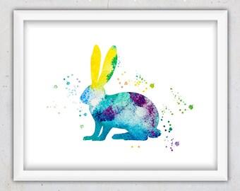 Nursery Bunny Art Print, Kids Wall Art, Nursery Wild Animal Print, Nursery Wall Art, Digital Printable Art, Watercolor Print, Colorful Art