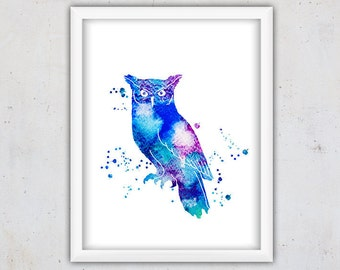 Owl Print, Owl Art, Nursery Art Print, Printable Nursery Download Print, Kids Animal Art Poster, Digital Watercolor Owl Print, Bird Print