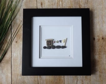 Clothesline sea pottery picture frame / Pebble art picture / Sea glass art / Nova Scotia picture / Beach decor / Ocean art / Laundry decor