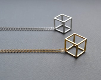 Sterling Silver 3D Cube Necklace | 3D Cube Pendant | Geometric Pendant Necklace