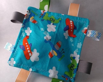 Blue Airplane Tag & Crinkle Toy