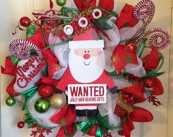Christmas Wreath, Christmas Front Door Hanger, Christmas Deco Mesh Wreath, Christmas Outdoor Wreath, Outside Christmas Decoration, Ho Ho Ho