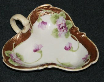 Vintage Nippon Noritake Morimura Candy or Lemon Dish with handle, Gilded, Purple Pansy or Voilet Flowers