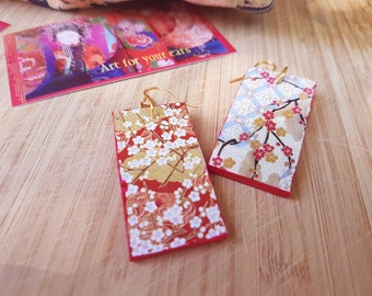Japanese red blooms - choyigami, rectangular, light earrings