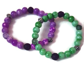Diffuser Bracelet, Essential Oil Diffuser Bracelet, Aromatherapy Bracelet, Stretchy Beaded Bracelet, Green Diffuser Bracelet, Purple, Gift