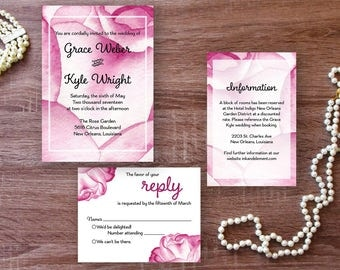 Floral Wedding Invitation Rose Invitations Watercolor Pink