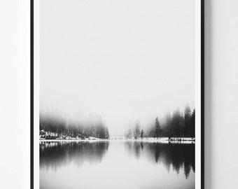 Landcape Print, Black White Photography, Minimal photo, Minimalist, Forest Wall Art, Landscape Photo, Landcape, Scandinavian Printable Art