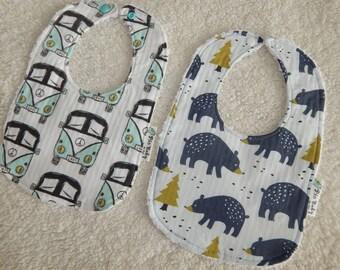 Baby Boy bibs, Bear bibs, Woodland bibs, set of 2 bibs, Modern baby boy bibs, drool bibs set, Baby shower gift