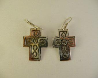 Cross Earrings Sterling Silver 925 Mexico TT-39