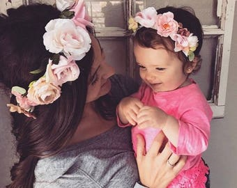 Mommy and Me Flower Crowns, Baby Shower, Newborn Photo, Maternity Photo, Floral crown, Mother's Day, Family Photos, Matching Mother Daughter