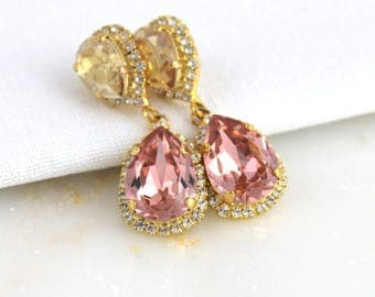 Bridal earrings, Bridal jewelry, Gold Wedding earrings, Crystal earrings, Blush crystal earrings, Bridesmaid earrings, Swarovski earrings