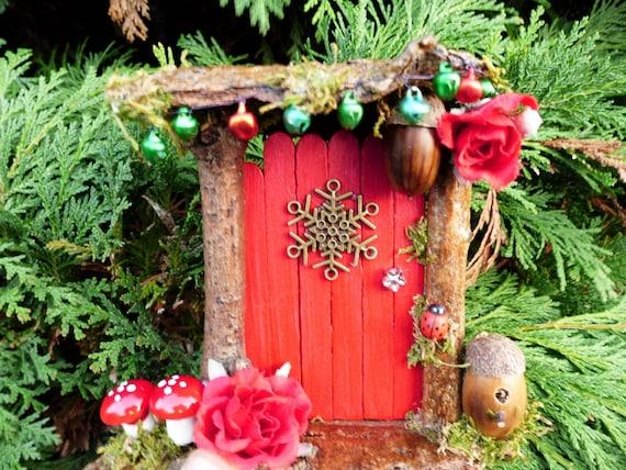 Red fairy door with birdbox fairy garden by for Princess fairy door