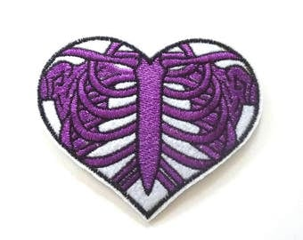Purple Rib Cage in a Heart Iron on or Sew on Patch - H405