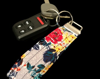 Multi Colored Flowers Keychain Key Fob Lanyard