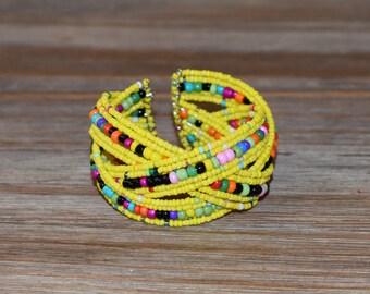 Multi Colored Beaded Bracelet | Handmade Beaded Bracelet | Yellow Beaded Cuff Bracelet