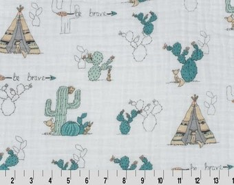 Shannon Embrace Fabric, SMD Young and Brave Embrace Fabric, Tee Pee Gauze Fabric, Double Gauze Fabric, Be Brave Gauze, Fabric By The Yard,