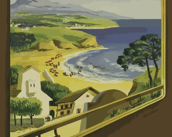 Vintage Travel Poster A4 of the Basque Coast of France