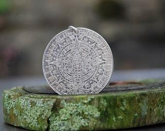 Vintage Handcast Sterling Silver Aztec Calendar Pendant. Statement Piece.