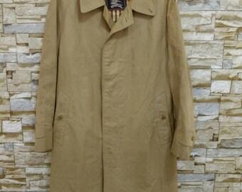 Vintage Burberrys Trench Coat Designer Tan Rain Jacket Size M Casual