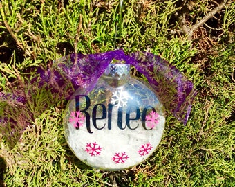 Floating christmas ornament, personalized christmas ornament, personalized snow globe, name christmas ornament, personalized christmas decor