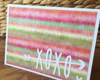 XOXO Card - Pink and Green