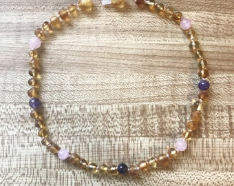 BABY/CHILD teething/comforting Raw Baltic Amber neckace with Rose Quartz (comfort) & Amethyst (peace) Reiki-charged made with love