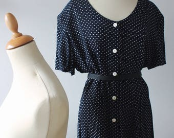 Dress vintage black and white polka dot cotton 1990