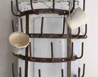Ancient small wall bottle dryer, France, shabby