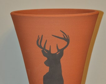 Vintage Style Terracotta Flower Pot - Stag